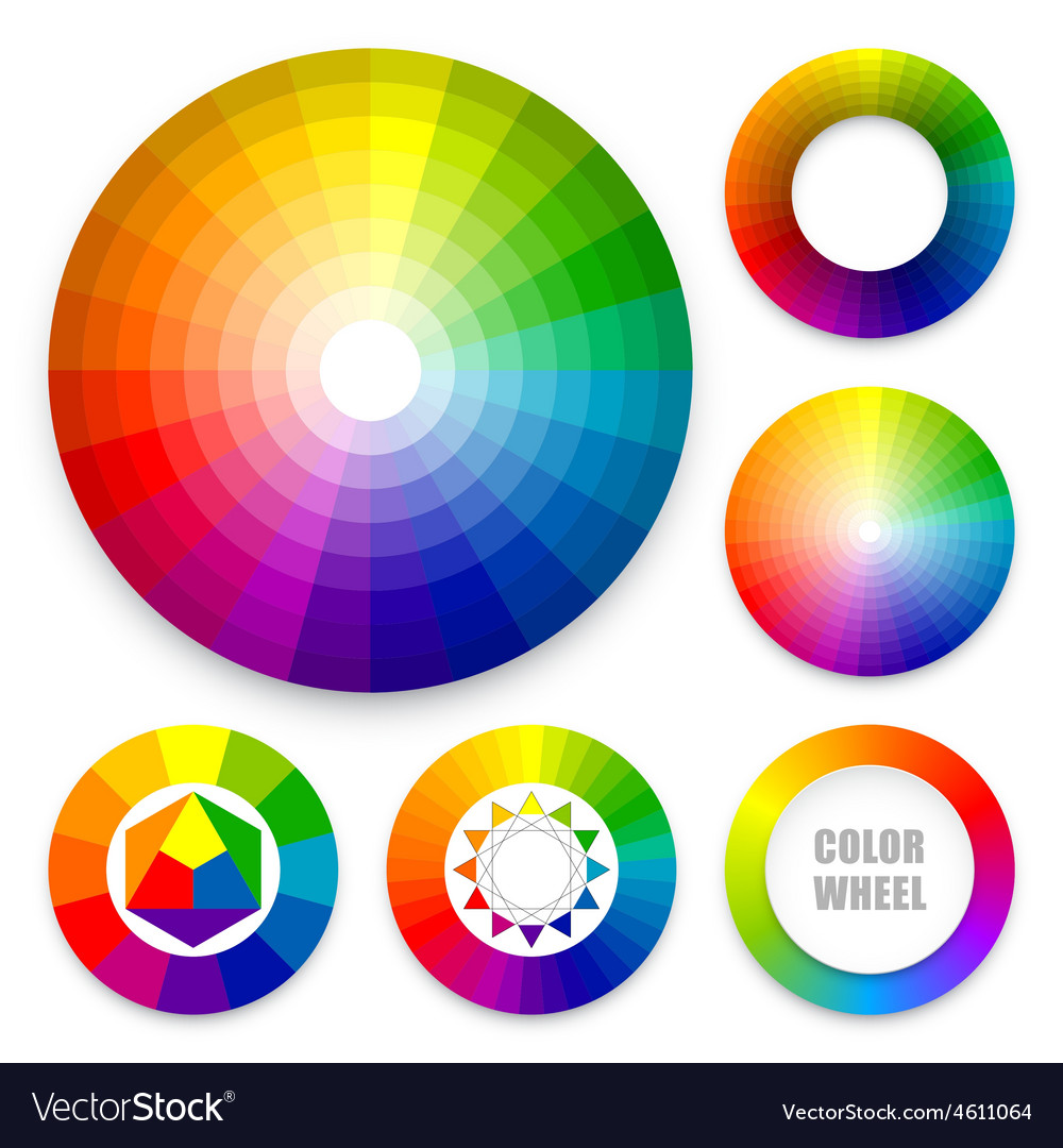 Set of color wheels vector
