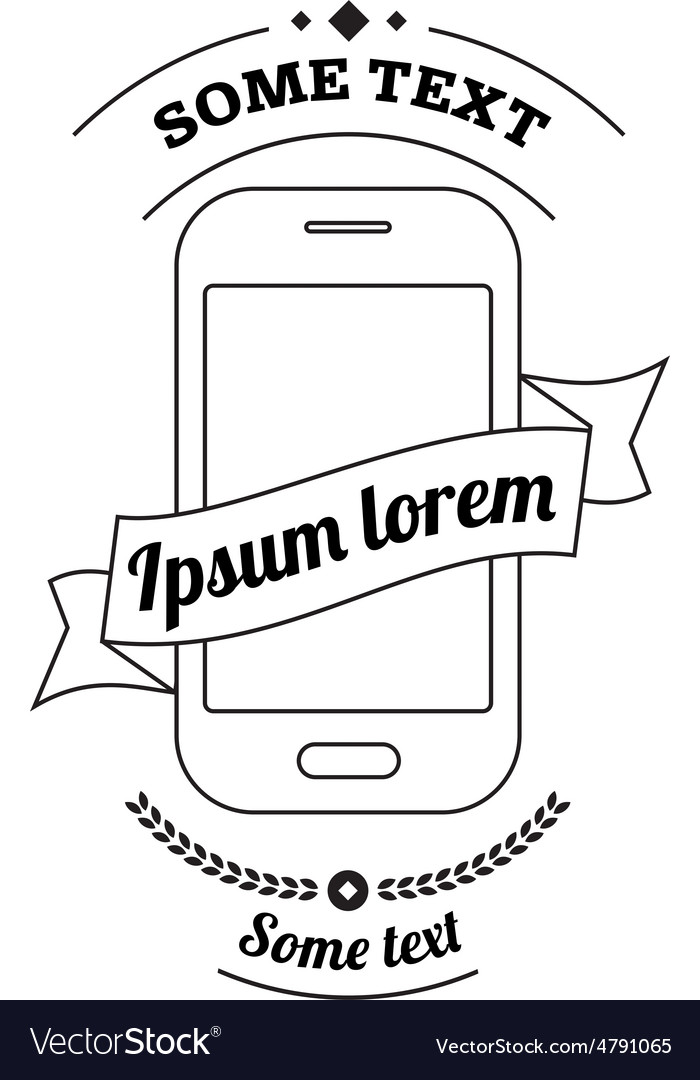 Mobile phone logo with ribbon and text vector