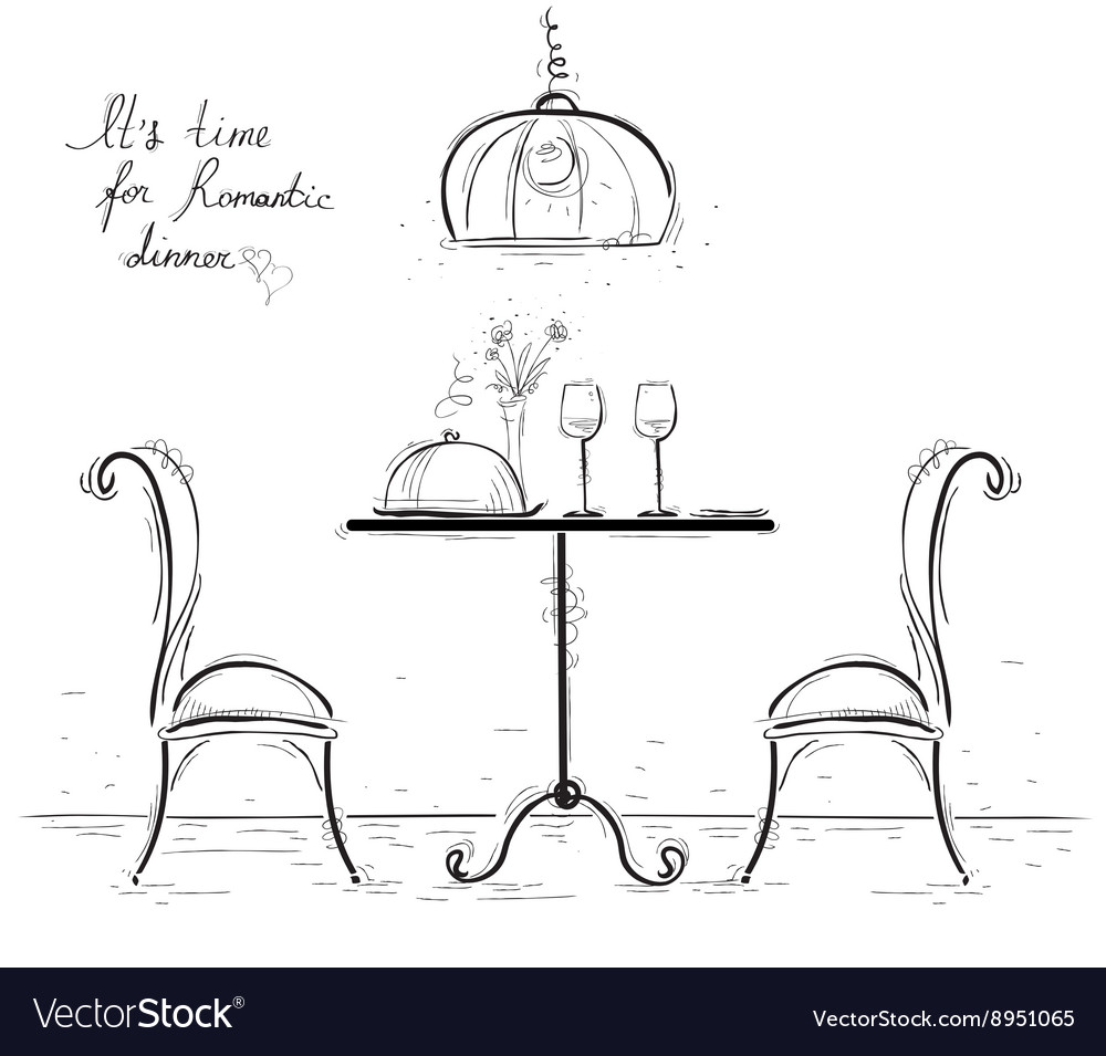 Romantic dinner sketchy isolated on white vector