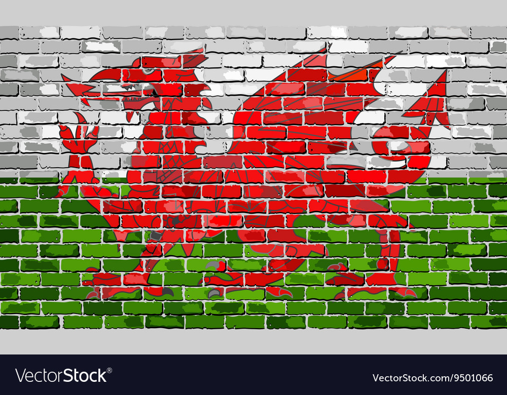 Flag of wales on a brick wall vector