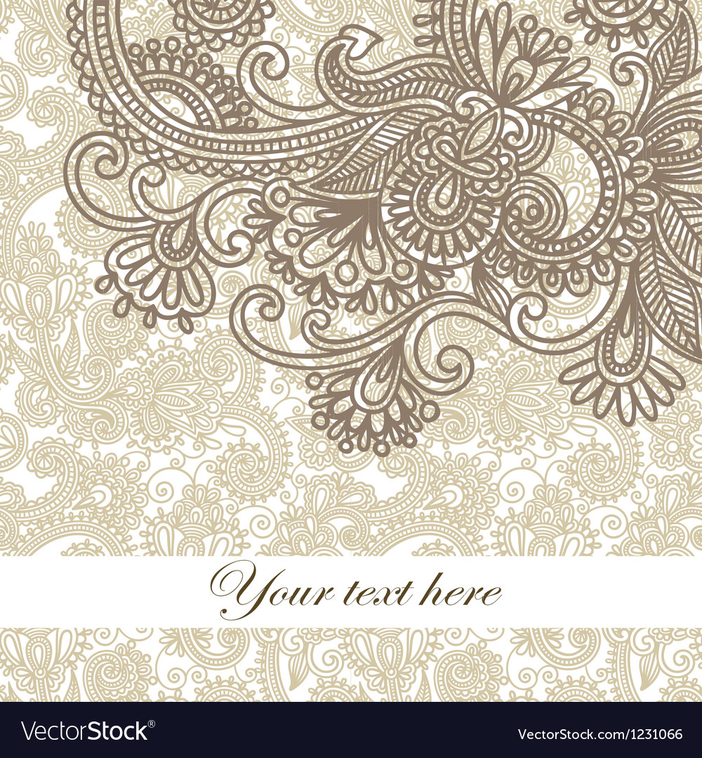 Hand draw frame ornate card announcement vector
