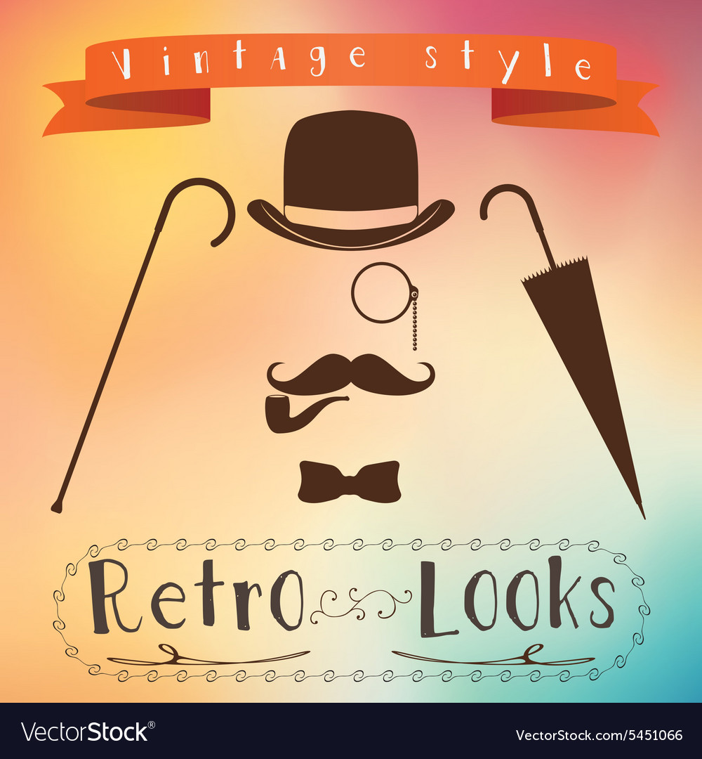 Retro gentleman elements set  bowler moustache vector