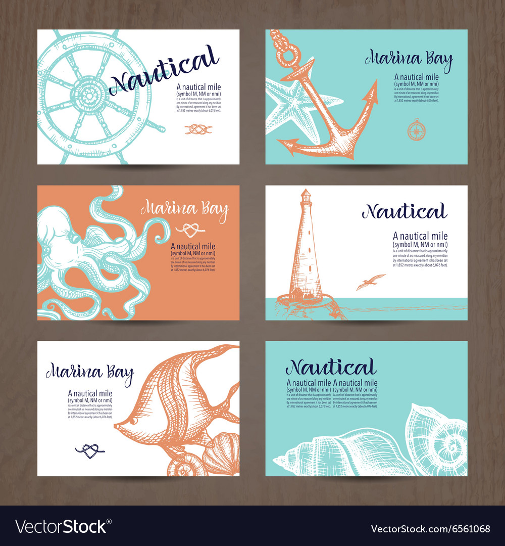 Nautical card set vector