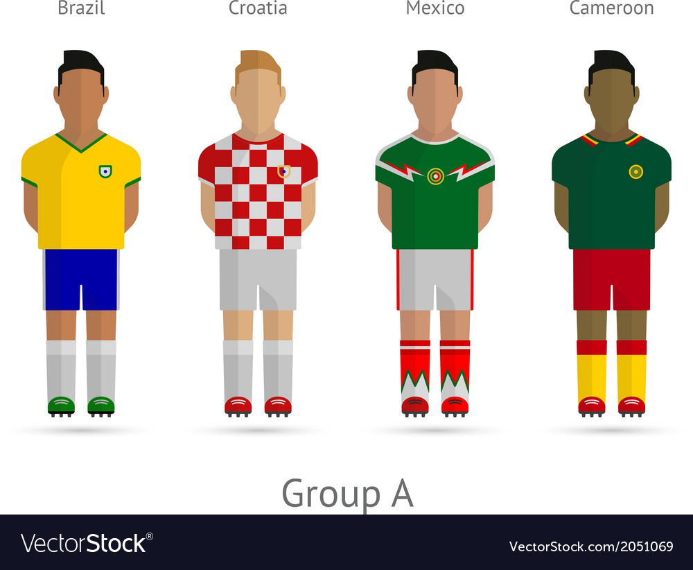 Football teams group a  brazil croatia mexico vector