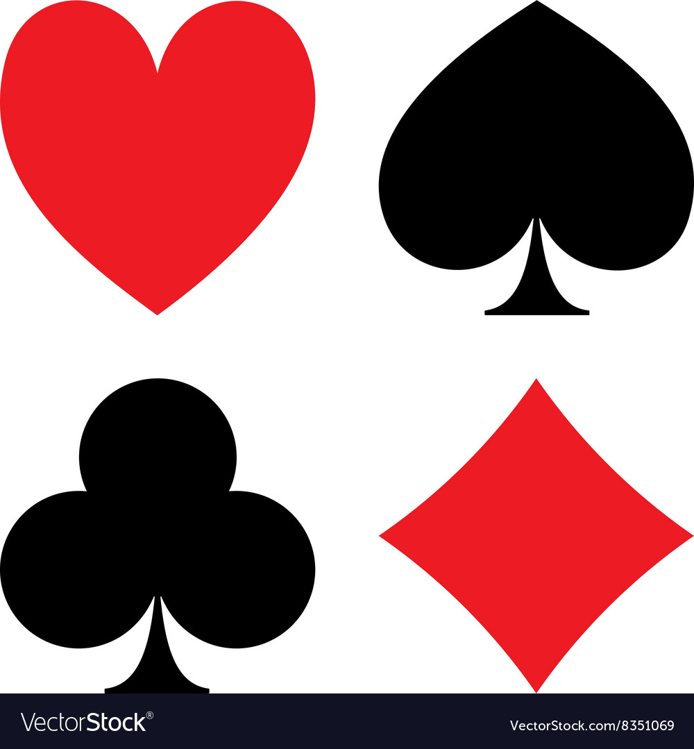 Playing card suit icon symbol set vector