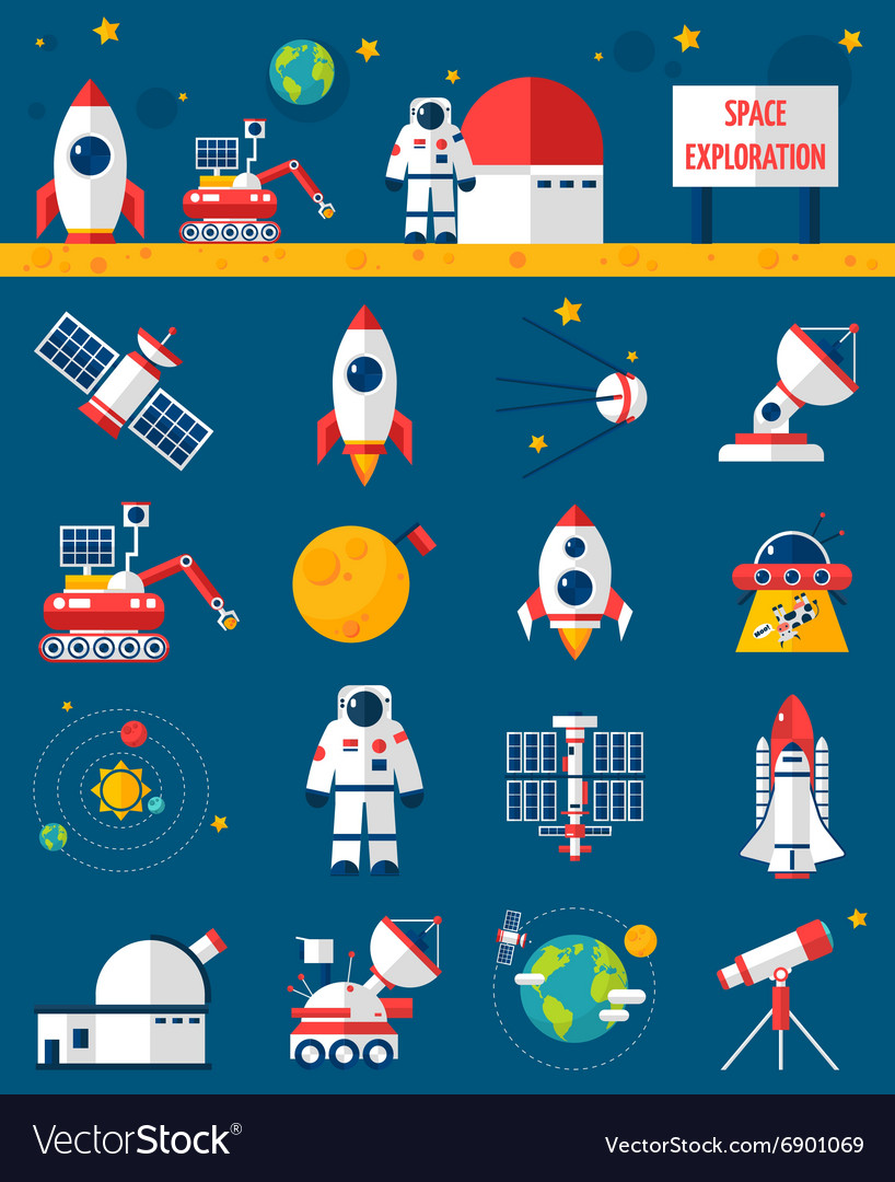 Space cosmos exploration flat icons set vector