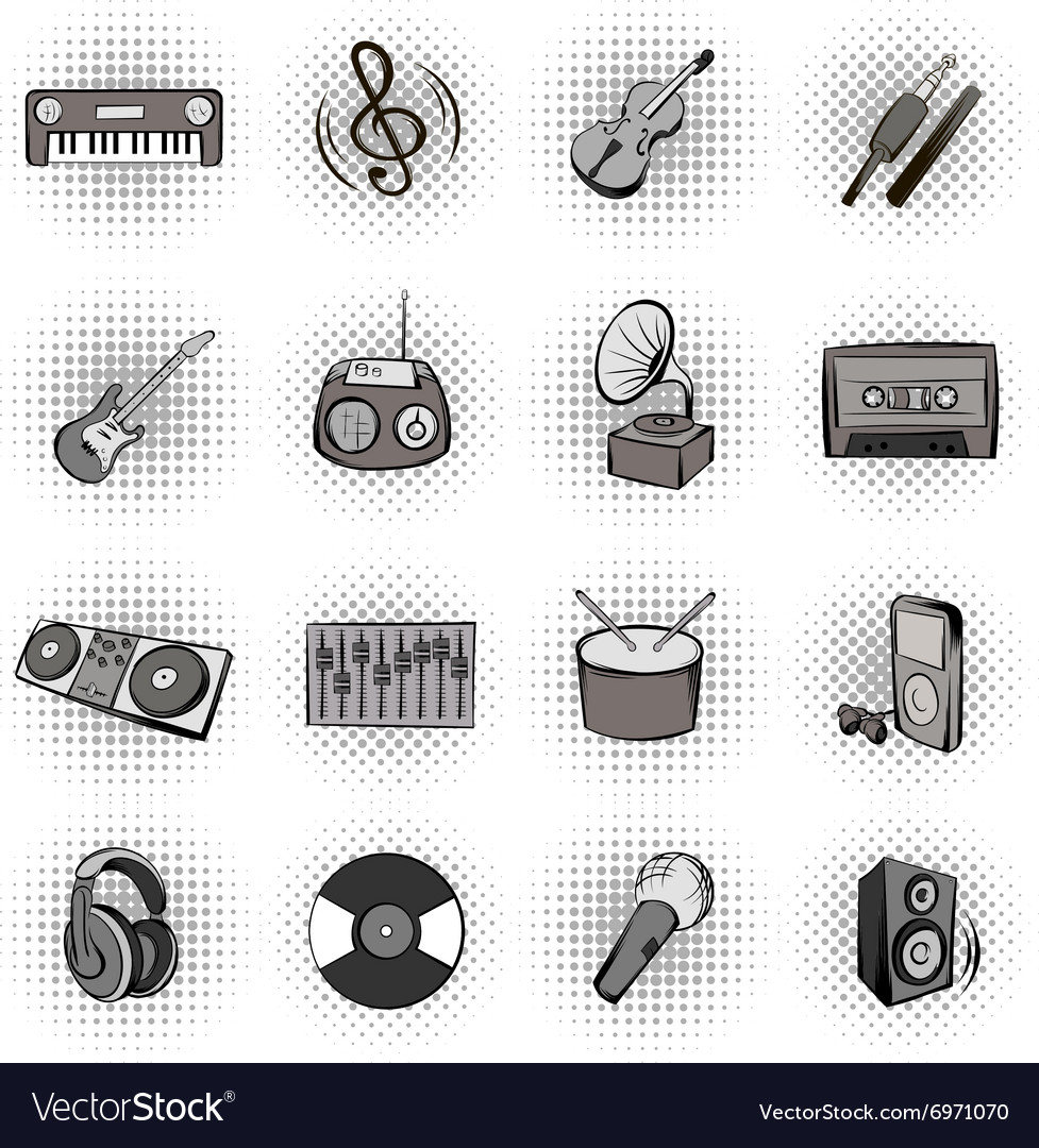 Music black comics icons vector