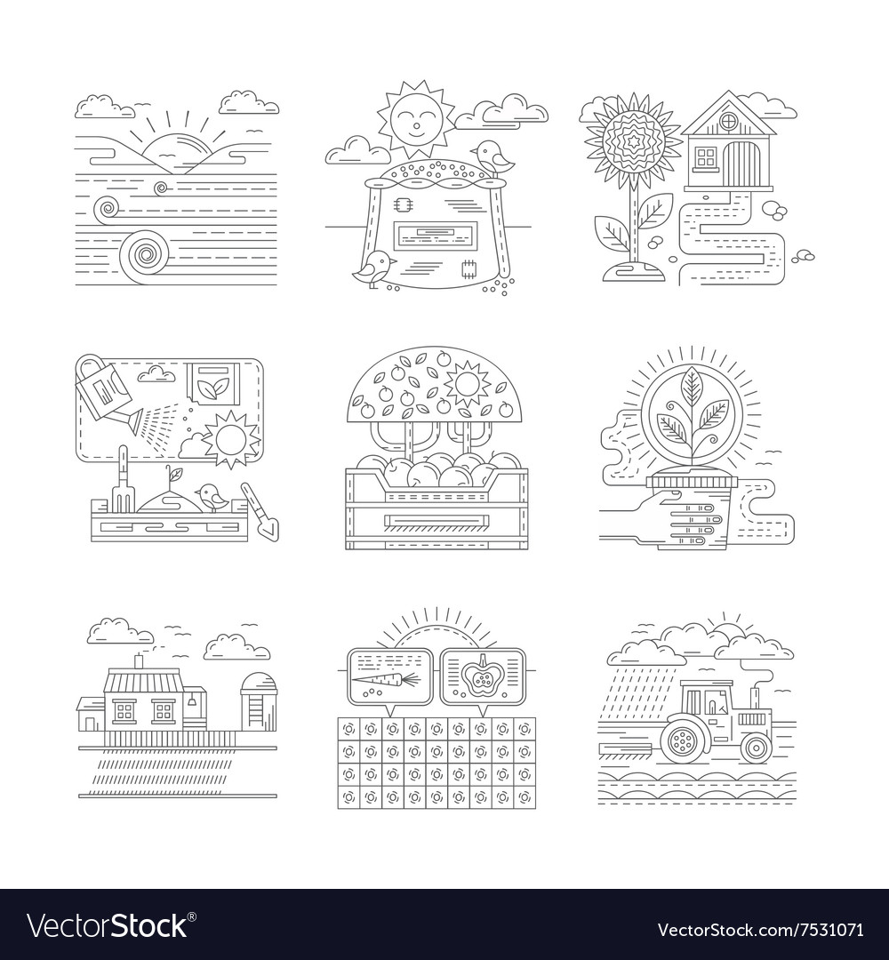 Agricultural farm icons set flat line style vector