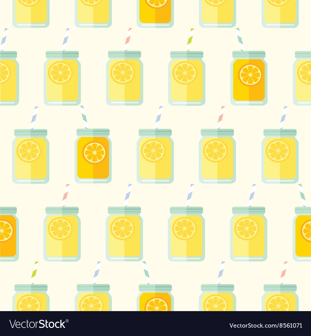 Flat seamless pattern with mason jar vector