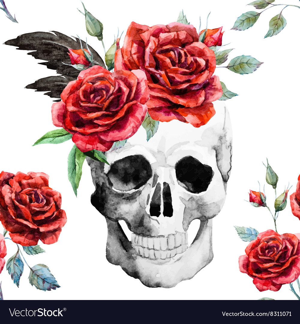 Watercolor skull and roses pattern vector