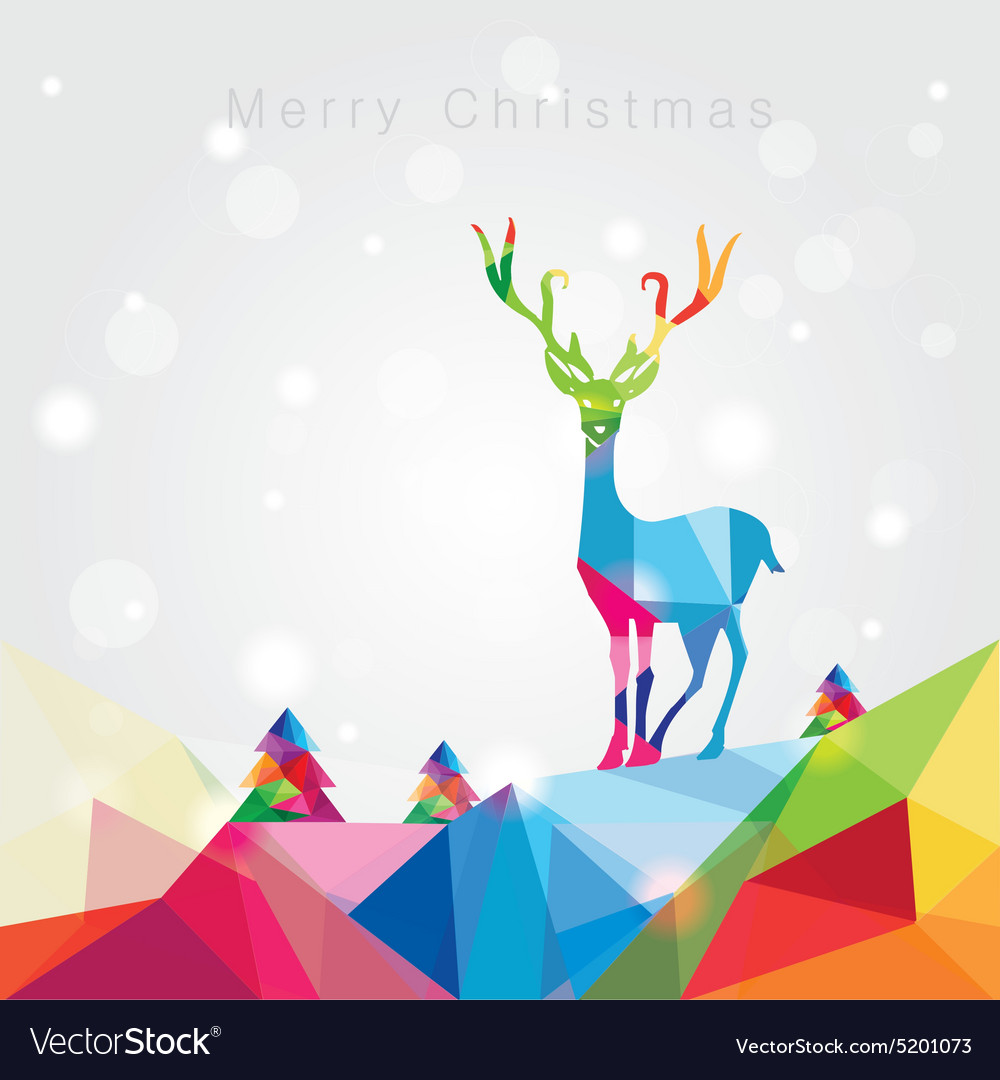 3d origami low polygon reindeer vector