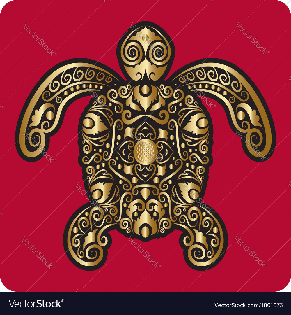 Golden turtle ornament vector