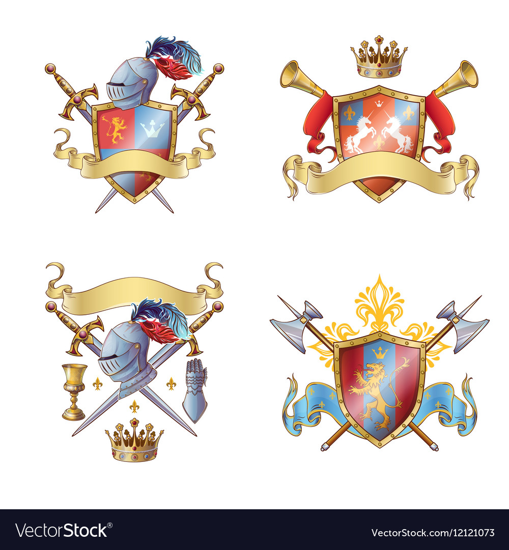Knight colorful emblems vector