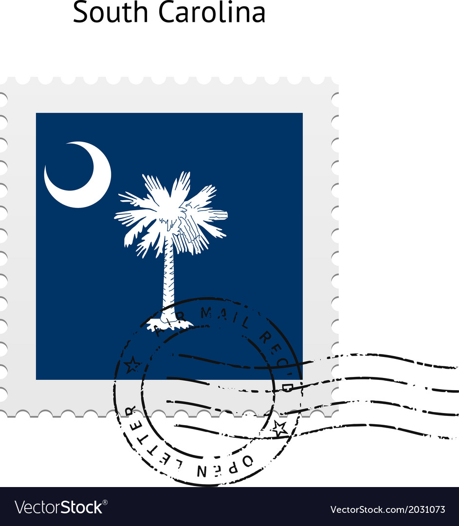 State of south carolina flag postage stamp vector