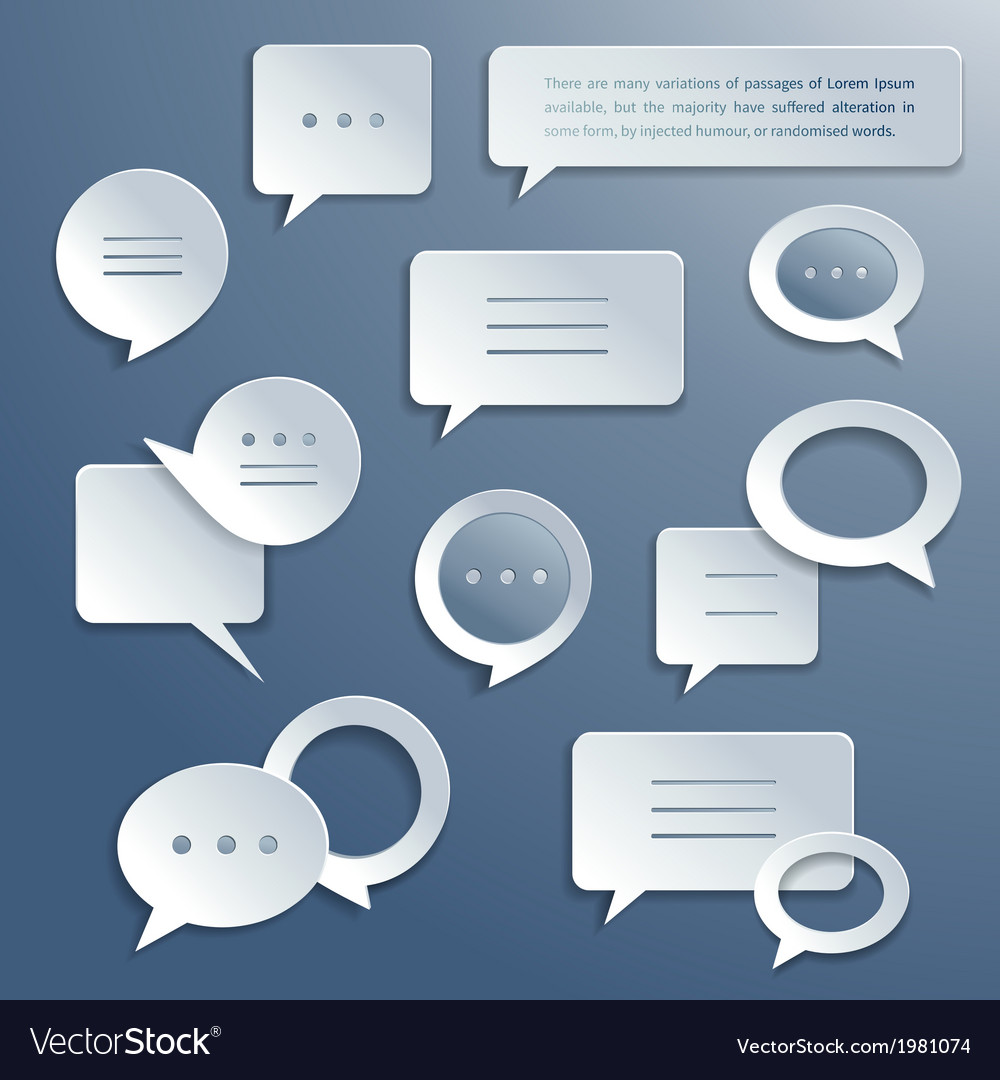 Abstract paper speech bubbles set vector