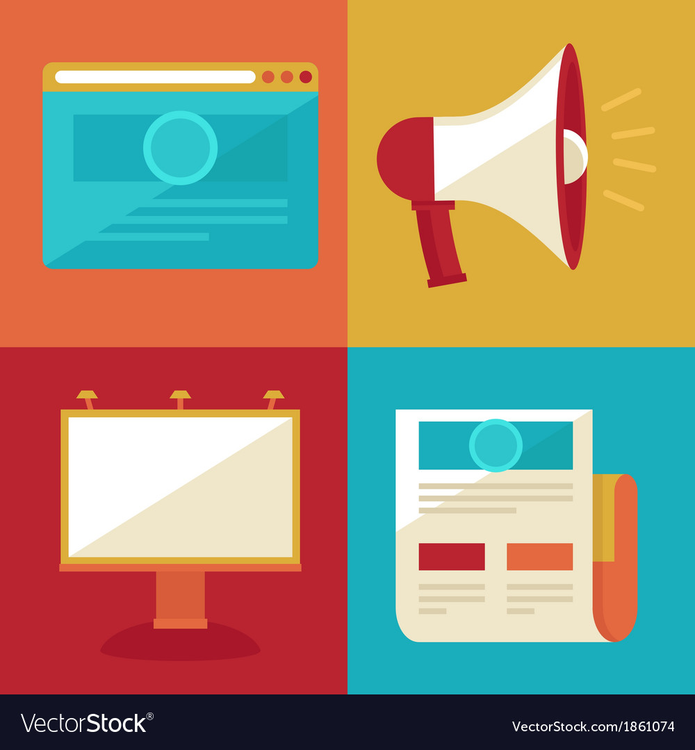 Advertising and promotion concepts and icons in fl vector
