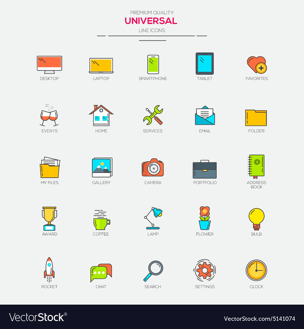 Line flat icons set 1 vector