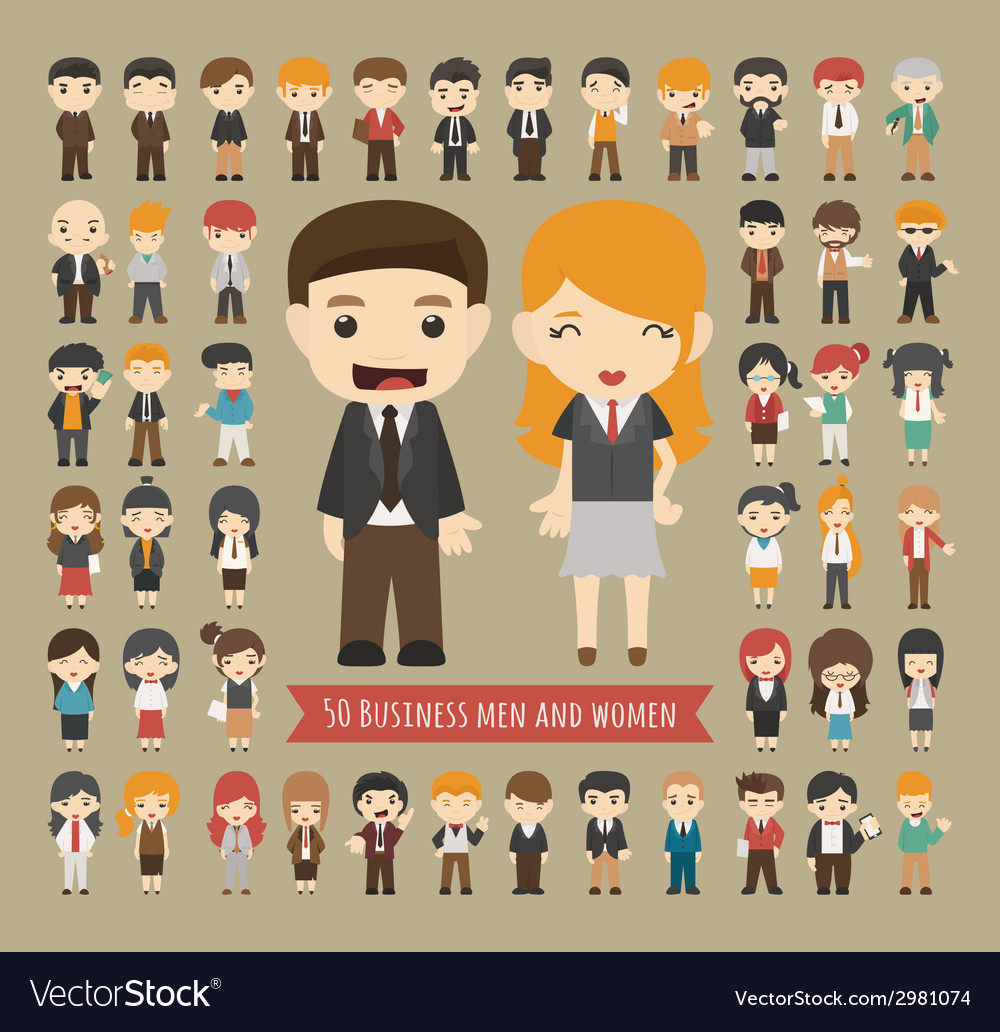 Set of 50 business men and women vector