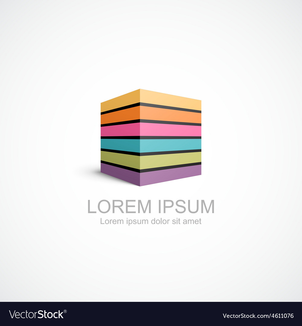 Colorful striped cube icon vector