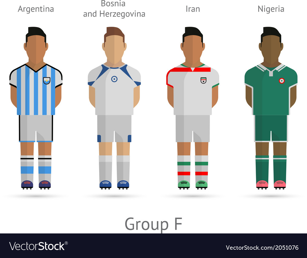 Football teams group f  argentina bosnia and vector
