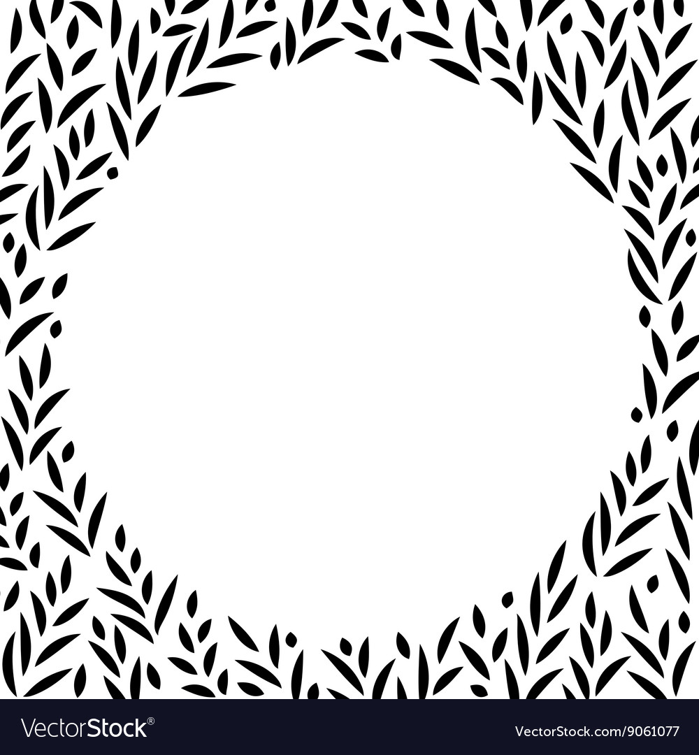 Black and white leaves circle frame background vector