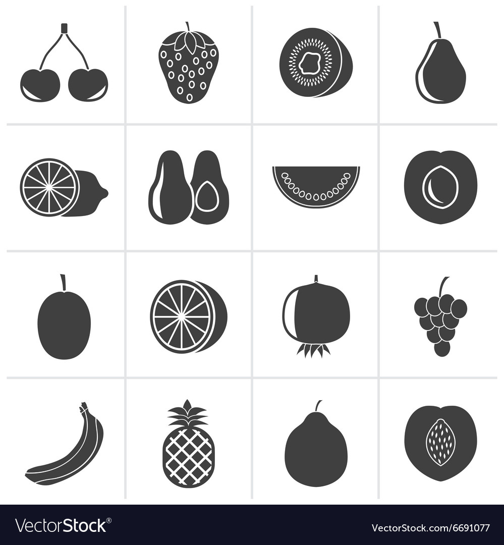 Black different kind of fruit and icons vector