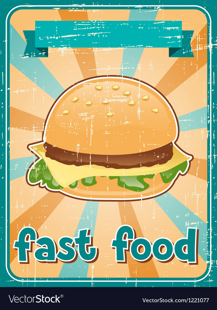 Fast food background with hamburger in retro style vector