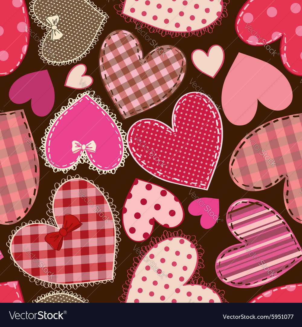 Seamless pattern of heart patchworks vector