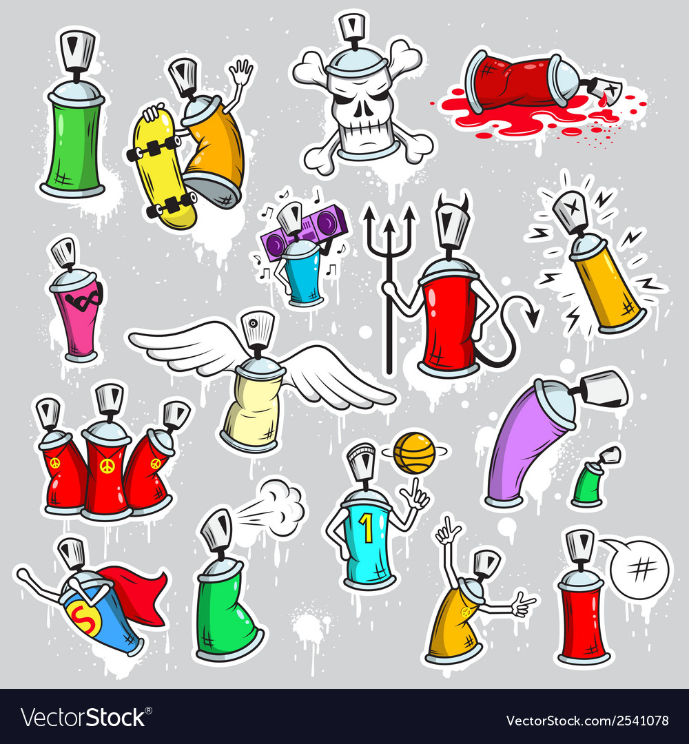 Graffiti characters icons set vector