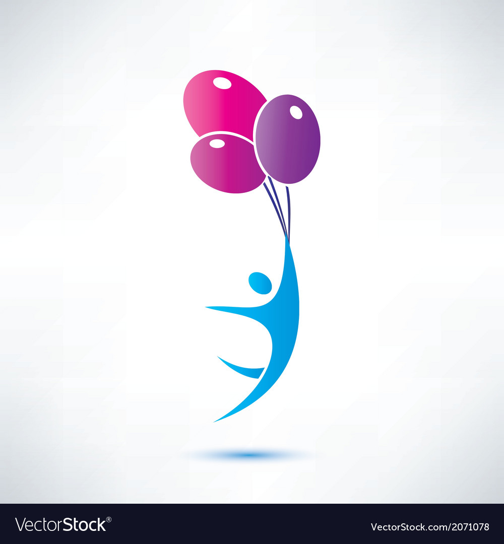 Man holding air balloon isolated icon vector