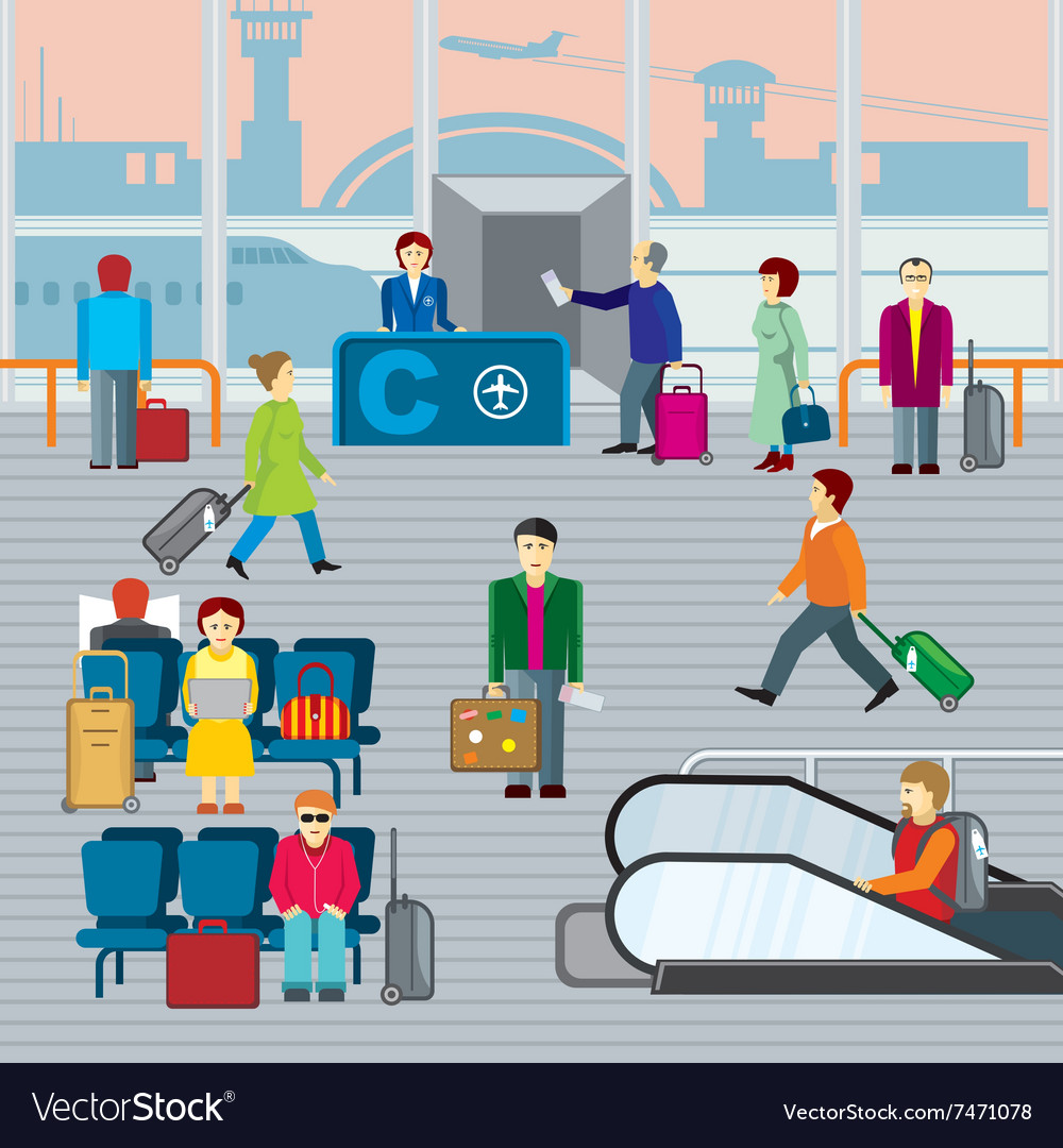 People in airport flat vector