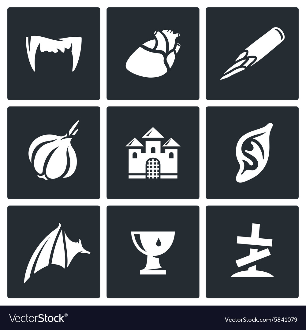 Vampires and means against them icons set vector