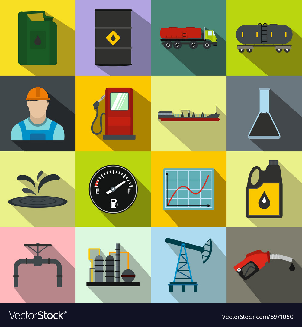 Oil industry flat icons set vector