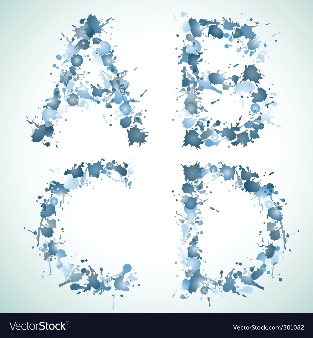 Alphabet water drop abed vector