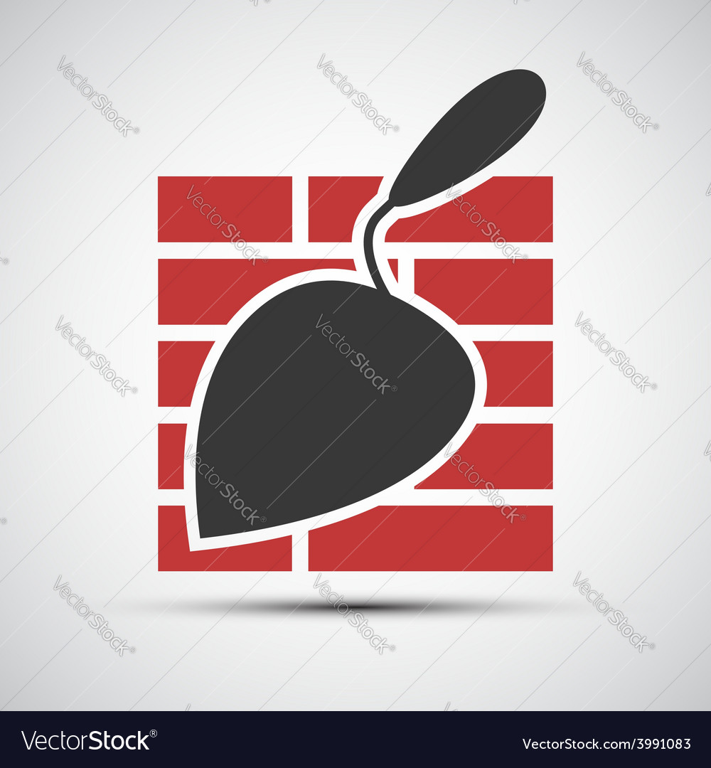 Icons brickwork and building trowel vector