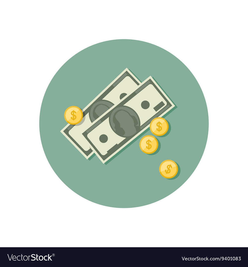 Money icon with dollars vector