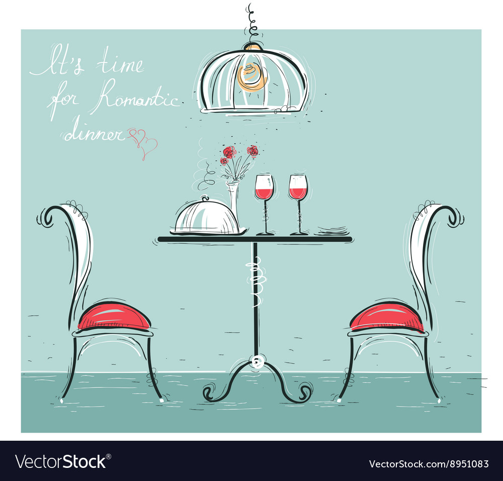 Romantic dinner sketchy color isolated on white vector