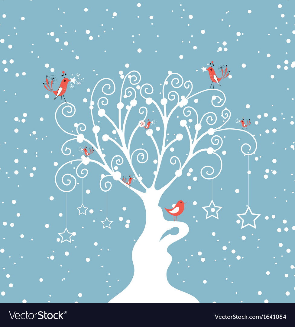 Decorative winter tree vector