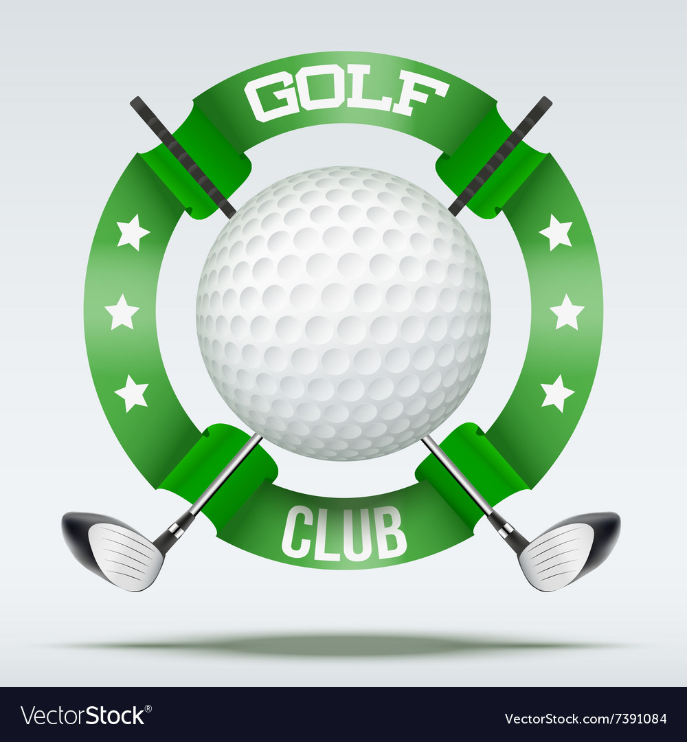 Golf clubs and ball with ribbons vector