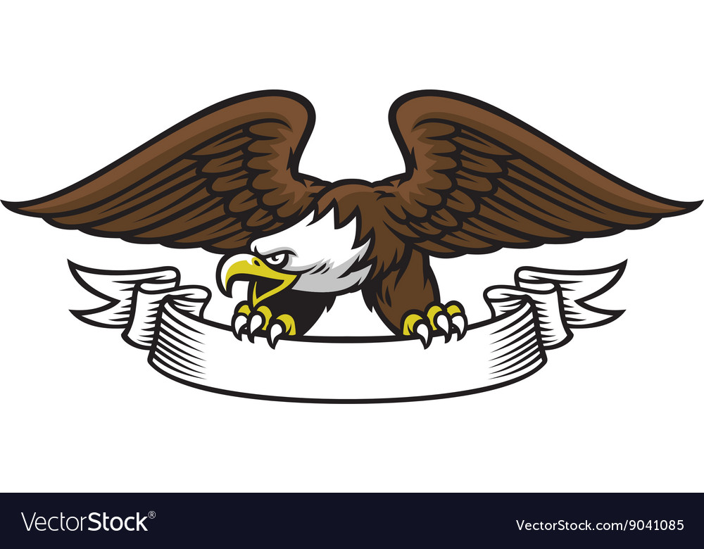 Eagle mascot grip the ribbon vector