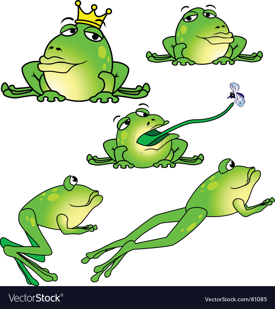 Five frogs in different poses vector