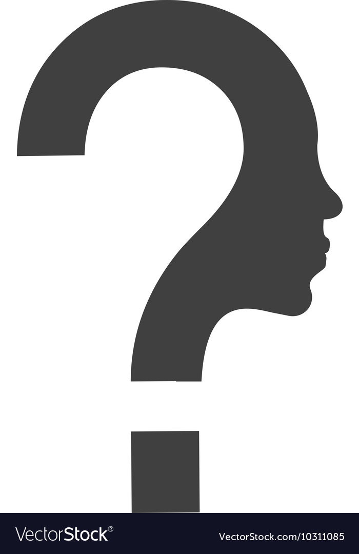 Question mark and face profile silhouette icon vector