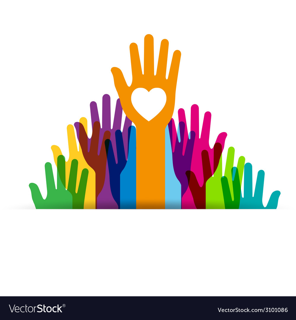 Colors hands up vector