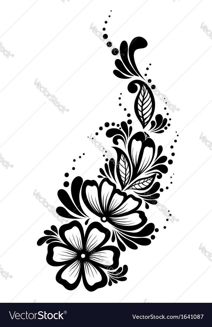 Floral element blackandwhite flowers and leaves vector