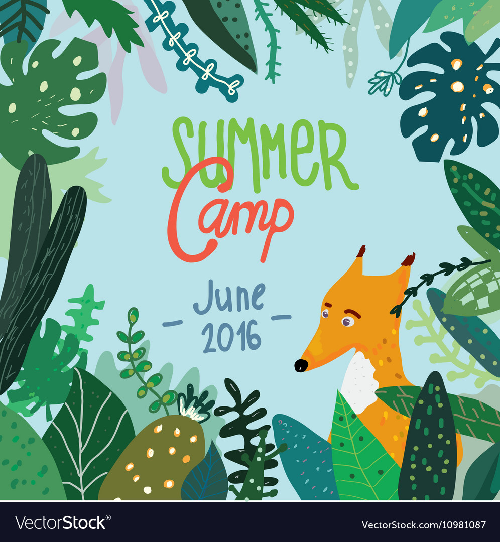 Summer forest camp banner or placard vector