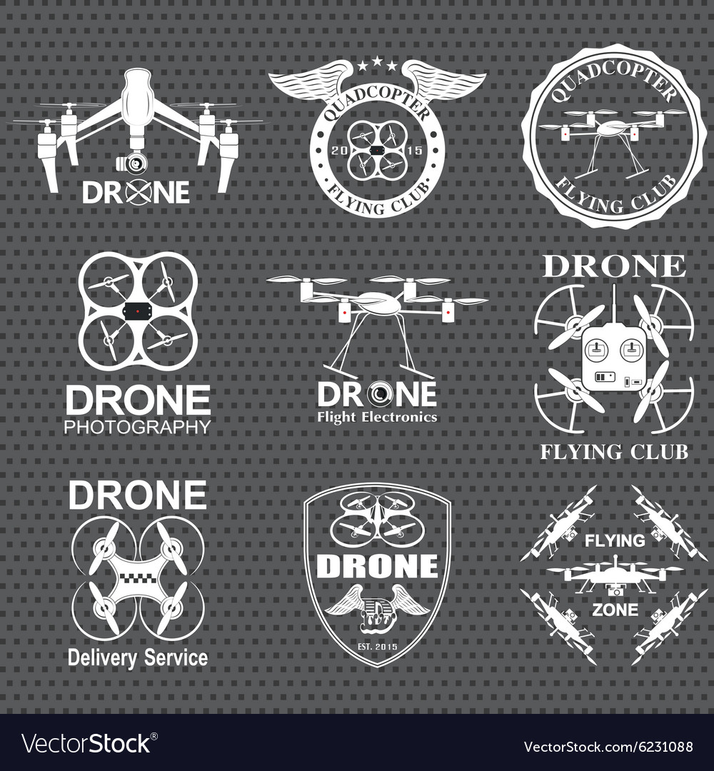 Drone footage emblems vector