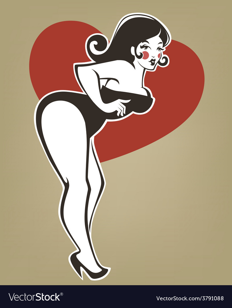 Plus size pinup girl vector