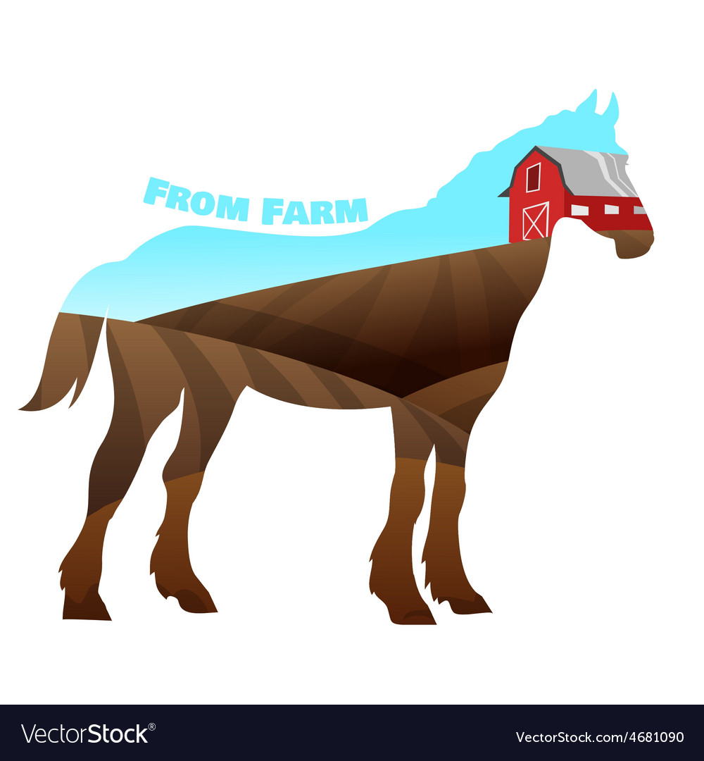 Concept of horse silhouette with text on farm vector