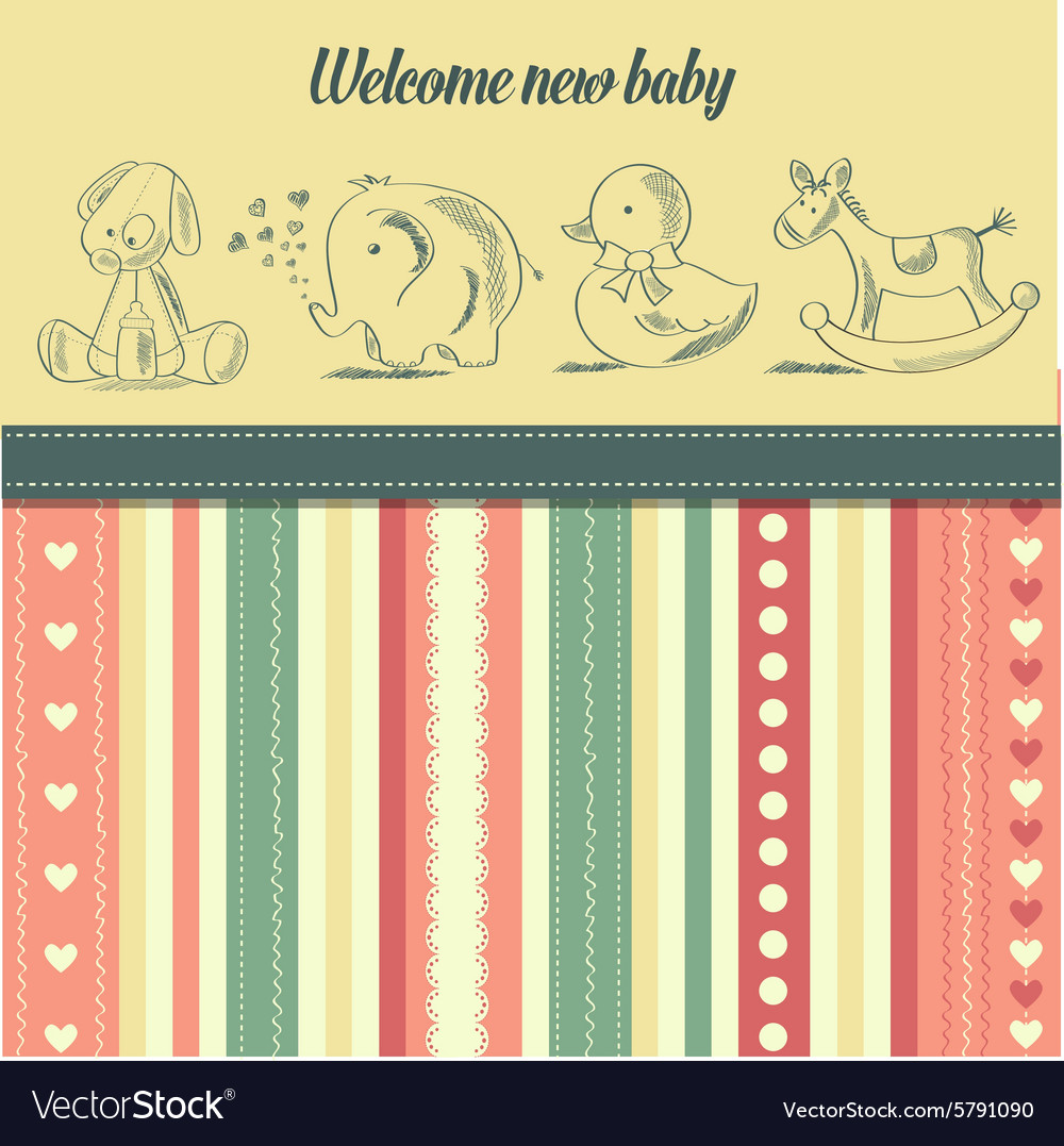 New baby announcement card with retro toys vector