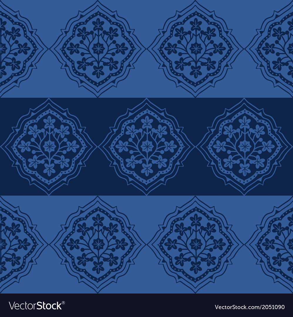 Seamless persian flower pattern design vector
